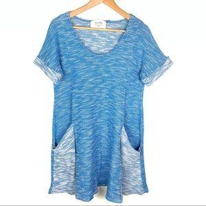 Puella Blue Short Sleeve Swing Dress New Medium